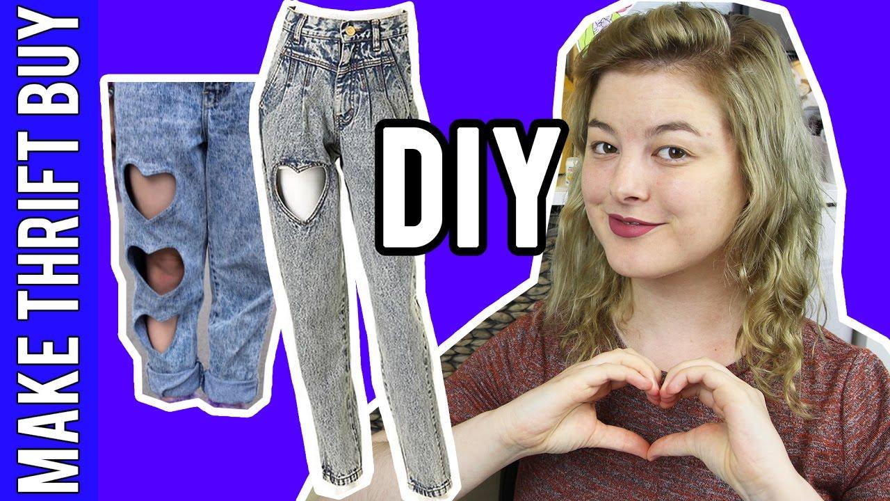 DIY Heart Cutout Jeans