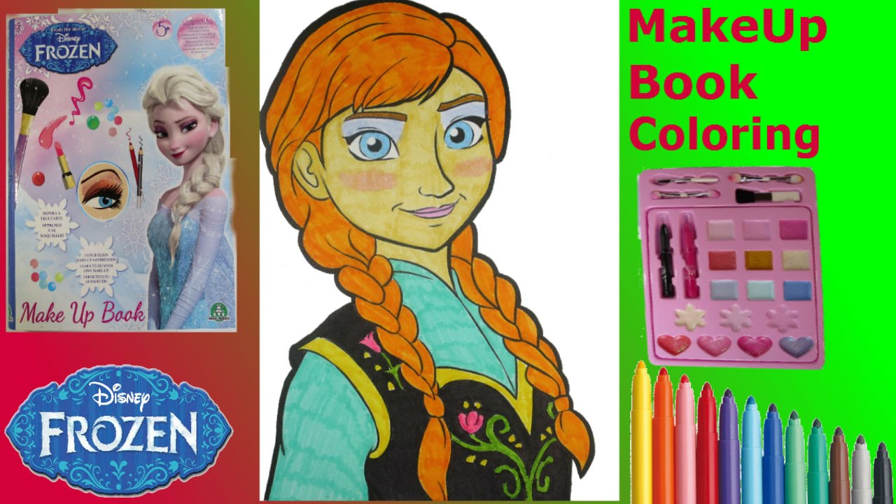 FROZEN MAKE UP Artist BOOK ANNA MAKEUP Toy Set Tutorial For Kids
