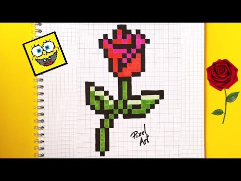 Pixel Art Hecho A Mano Cómo Dibujar Una Rosa Paso A Paso En Pixel