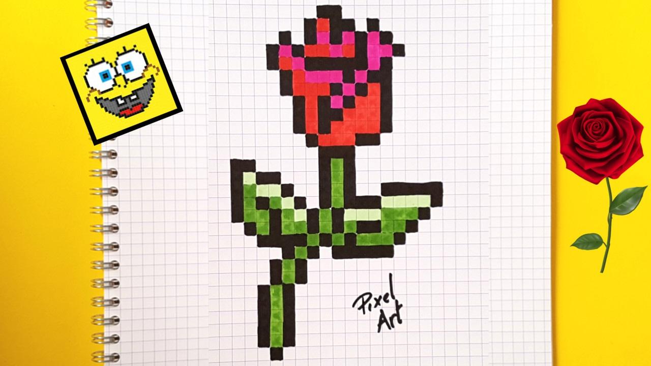 Pixel Art Hecho A Mano Cómo Dibujar Una Rosa Paso A Paso En Pixel Art