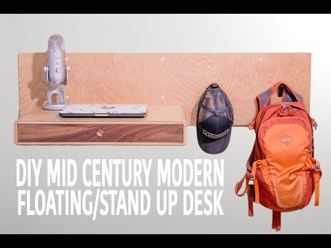 DIY Modern Standing / Floating Desk (Woodworking How To)