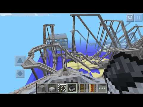 [Minecraft PE] 暇な時間を使ってジェットコースターを作ってみた。'Very long roller coaster'