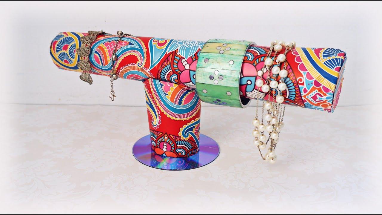 DIY EASY Necklace & Bracelet Holder from Cardboard Tubes   Toilet Paper Roll Crafts   Maison Zizou