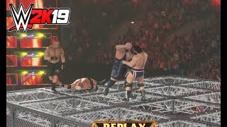 WWE-2K19- BROCK LESNAR & BIG SHOW vs RIKISHI & RUSEV -WWE Hell In A Cell Match