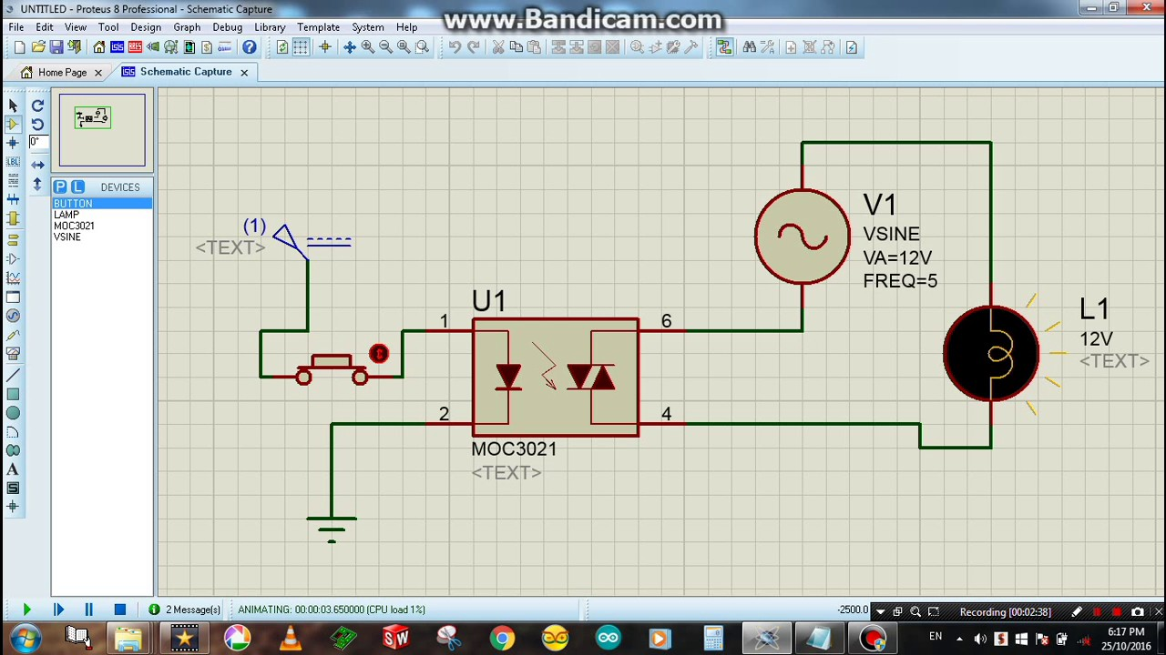 How to use Optocoupler to control an AC Lamp circuit - Proteus Simulation