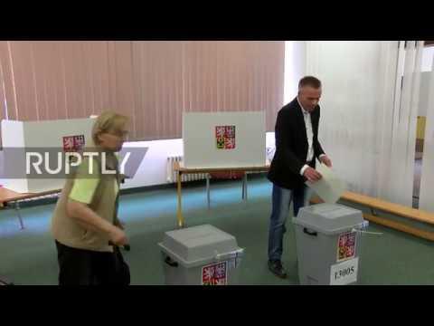 Czech Republic: President Milos Zeman casts his vote in EU elections