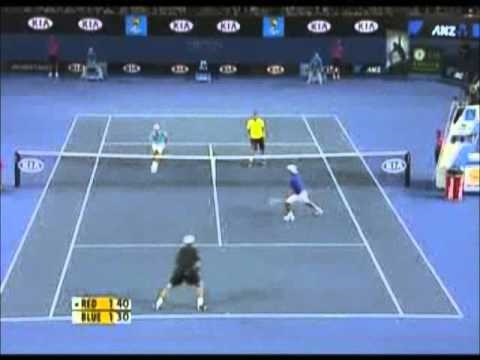 The comdy tinnes match ( andy roddick - roger federer - rafael nadal - novak djokovic ) part 2