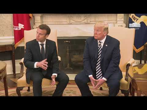 President Trump has a Restricted Bilateral Meeting with the President of France