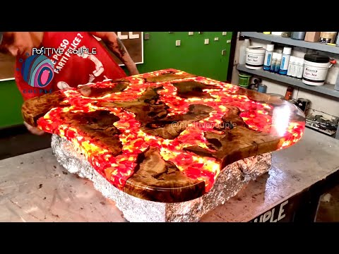 Table of Epoxy. Fire Lava! Стол из эпоксидной смолы. Огненная Лава!