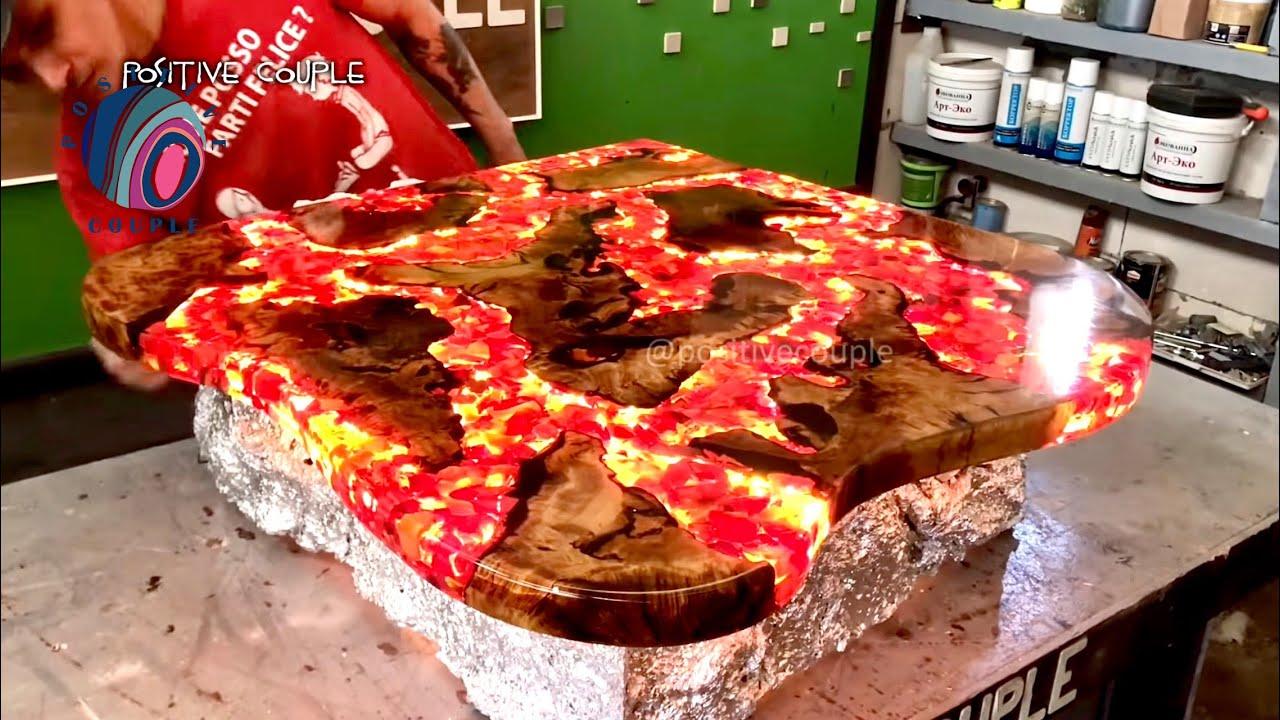 Table of Epoxy. Fire Lava! Стол из эпоксидной смолы. Огненная ...