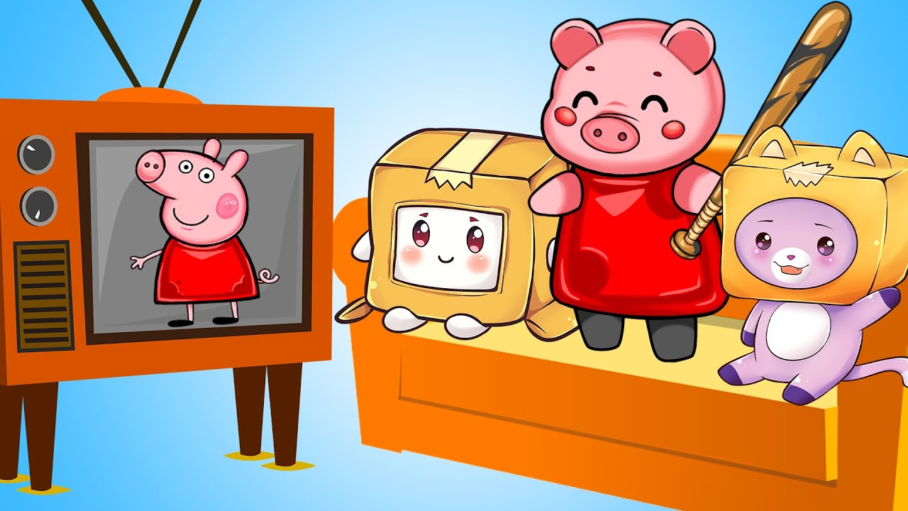 PIGGY WATCHES TV With LANKYBOX FOXY & BOXY! (Piggy Animated Meme)
