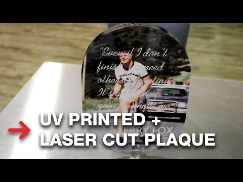 Laser Engraved and UV Printed Acrylic Plaque | Mutoh ValueJet 426