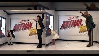 Ilusión óptica de los actores de 'Ant-Man and the Wasp' como promocion de la pelicula