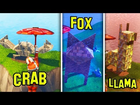 Where to FIND the Llama, Crab and Fox STRUCTURES (FORTNITE BATTLE ROYALE)