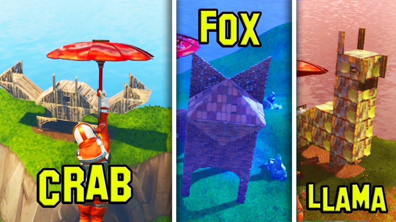 Where to find the llama crab and fox structures fortnite for Finding a builder