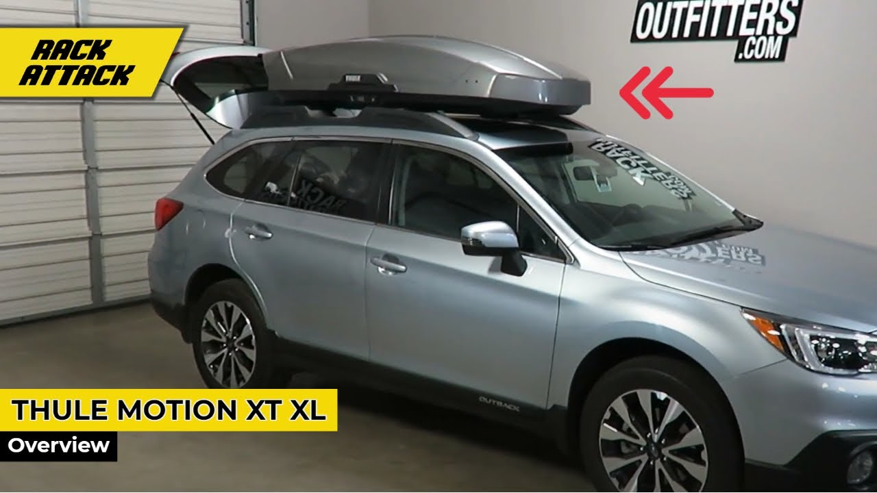 subaru outback wagon with thule motion xt xl 18 cf roof box luggage carrier