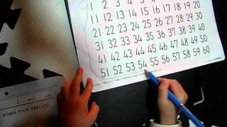 幼児に数を教える方法 プリント学習で、数字読んでいます。こつこつ続け...