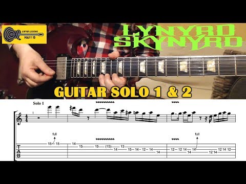 Sweet Home Alabama (Lynyrd Skynyrd) GUITAR SOLO 1 & 2 - GUITAR LESSON With TAB