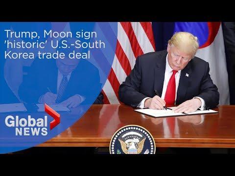 Trump, Moon sign 'historic' U.S.-South Korea trade deal