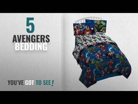 Top 10 Avengers Bedding [2018]: Marvel Avengers Heroic Age Blue/White 3 Piece Twin Sheet Set With