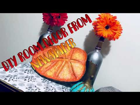 DIY Fall Room Decor Leave | Easy Crafts Made From Newspaper | Easy Paper Mache | Simple Room Decor