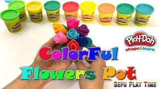 Making of Colorful Roses with Play-Doh Clay |  How to make Rose Flowers with Flower Pot