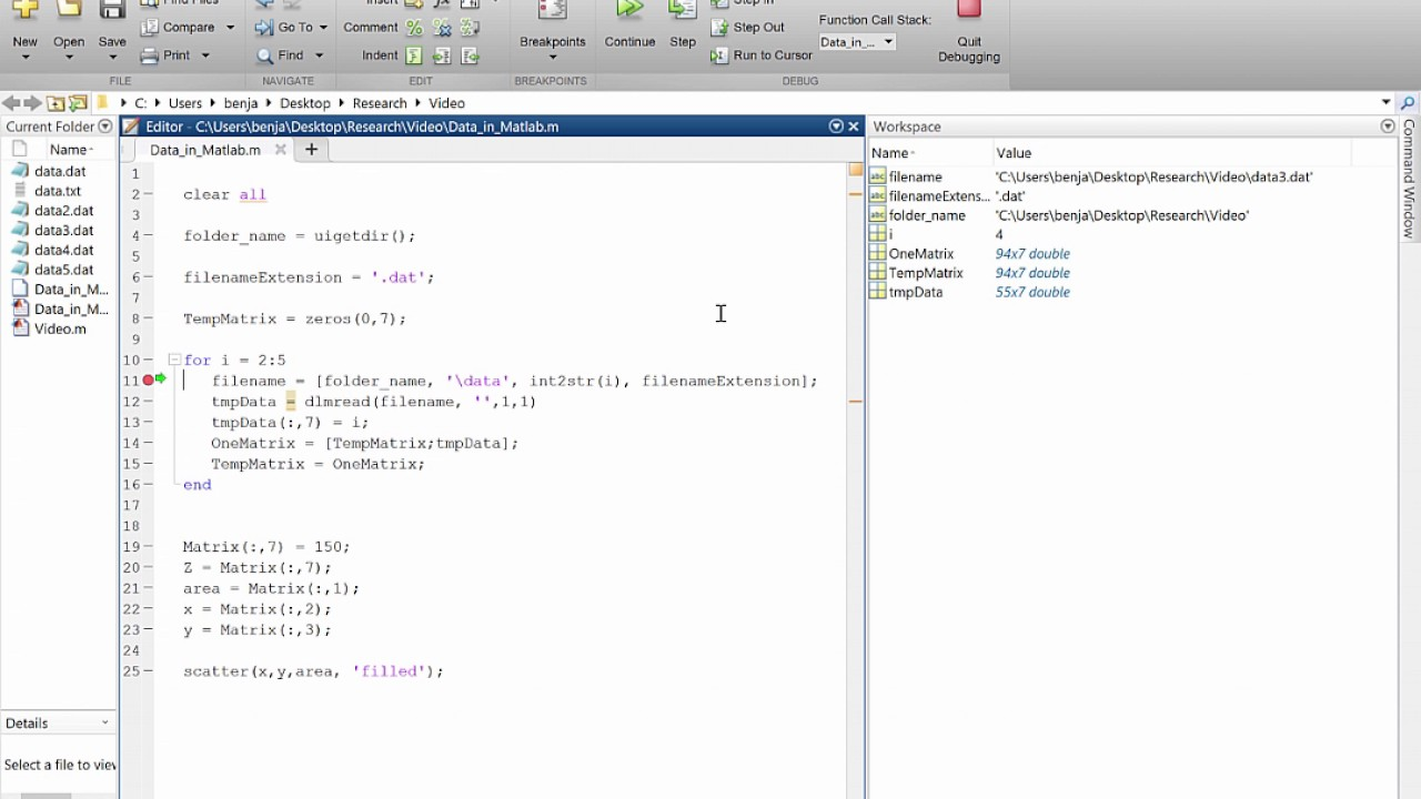 MATLAB Import Many Data File and 3D plot