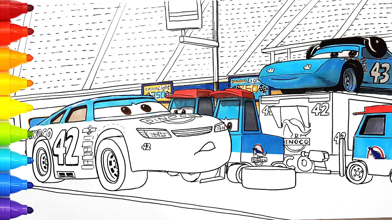 Draw CARS 3 CAL WEATHERS and Dinoco Pit Crew . Drawing and Coloring Pages | Tim Tim TV