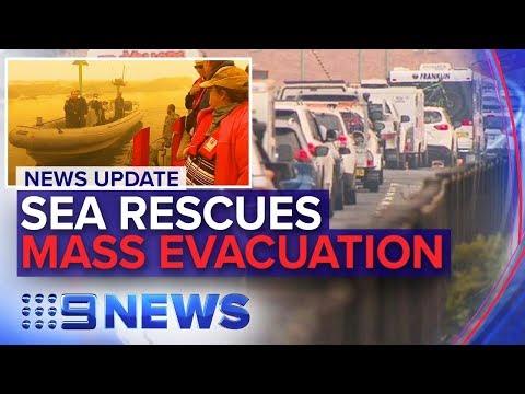 Australia fires: Sea rescues begin, tourist 'leave zone' issued in NSW | Nine News Australia