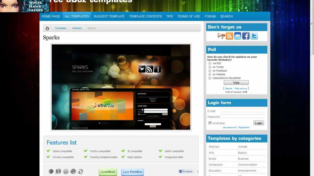 How to install the template on Ucoz 87