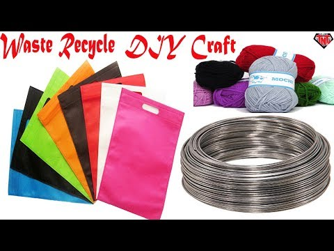 How To Make A Beautiful Feathers Wind Chime || DIY Fabric Bags Recycling Home Decoration Ideas