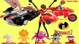 New Disney Pixar The Incredibles 2 Toys Huge Haul Poseable Action Figures Vehicles Elasticycle