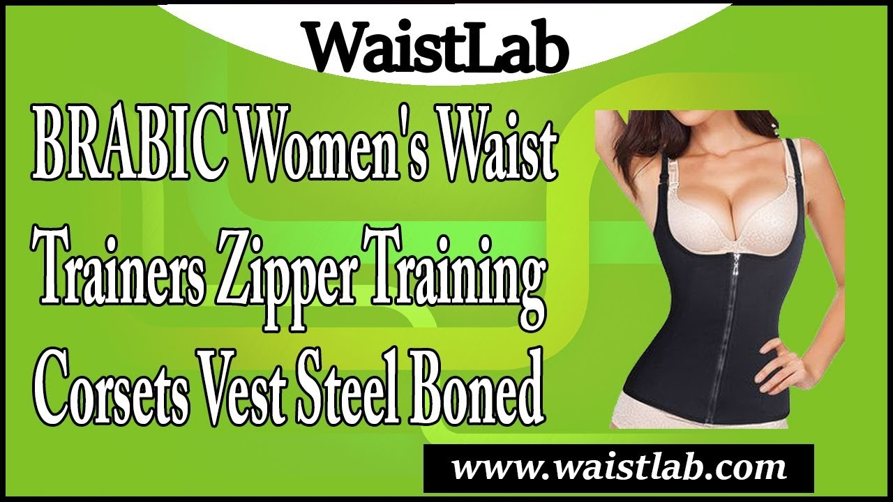 b74da3acb4 BRABIC Women s Waist Trainers Zipper Training Corsets Vest Steel ...
