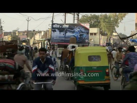 Chaotic mix of traffic in Badaun, Uttar Pradesh
