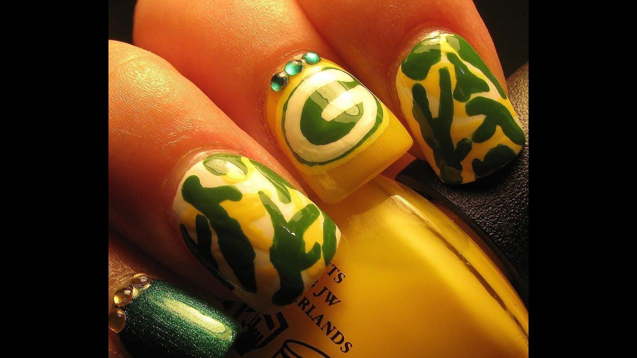 Green Bay Packer Nail art tutorial - YouTube