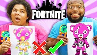 FORTNITE 3 GLITTER GLUE ART CHALLENGE! DAD VS MOM EDITION