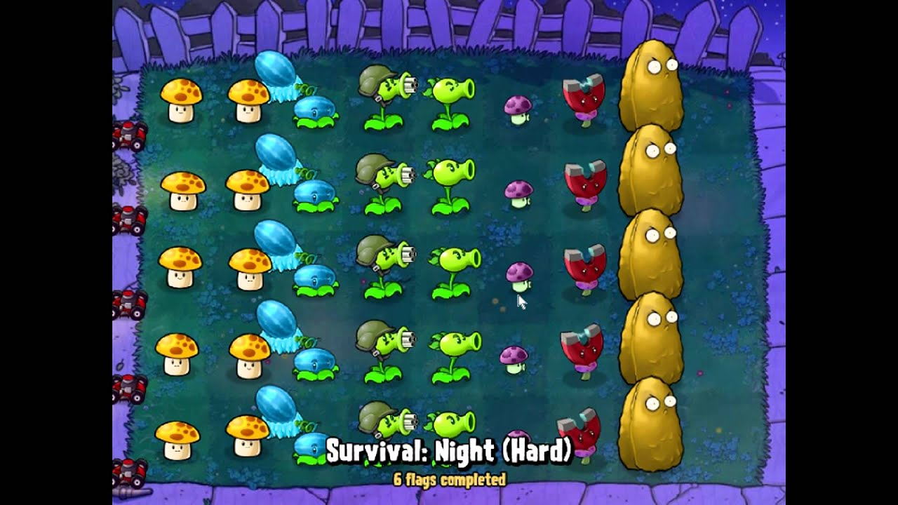 Plants Vs Zombies Survival Night Hard Youtube