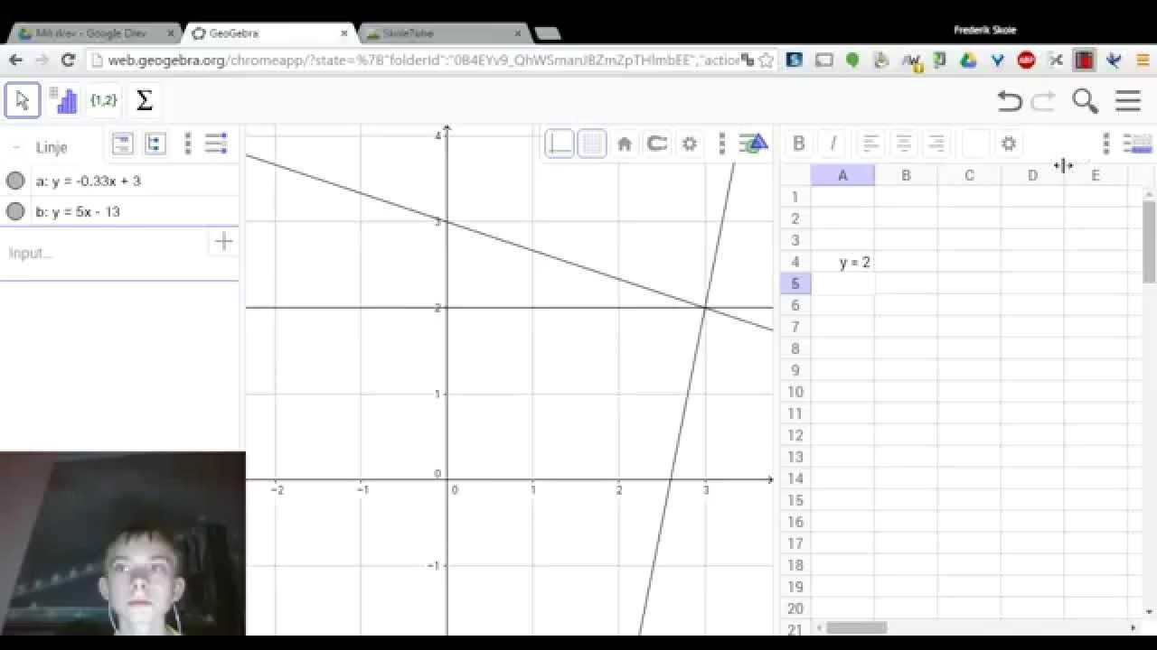 8. Sådan løses med to ligninger og to ubekendte i Geogebra