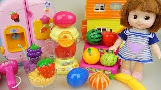 Baby doll fruit juice maker and kitchen surprise eggs play Doli story
