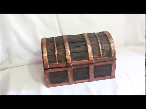 Como hacer un Cofre carton hecho con caja de zapatos - Treasure chest made of cardboard