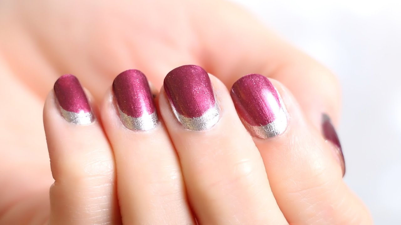Nail Tutorial Reverse French Nails In Metallic Silver Maroon