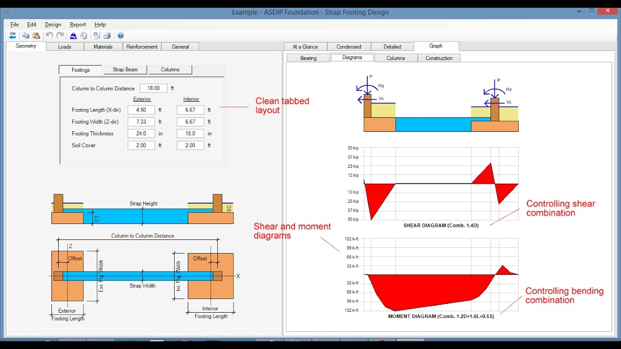 Spread, Combined, Strap Footing Design Software - ASDIP
