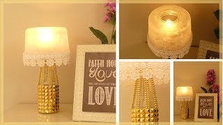 DIY Cordless Night Light: How to Make a Candle Holder Lampshade (Recycling Glass Bottle & Jars)