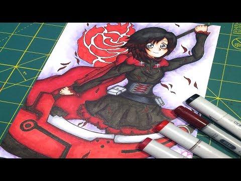 Copic Speedpaint: Ruby Rose (RWBY) FanArt