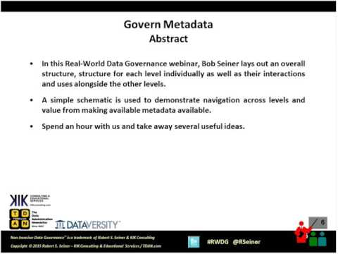 Real-World Data Governance: Govern Metadata Vocabulary, Dictionaries and Data