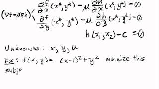 Constrained Optimization Lecture I Part 2: Two Variables, One Equality Constraint