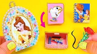 DIY: Miniature Belle School Supplies ( Backpack, Notebook, Pen, Pencil case) Beauty and the Beast
