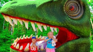 Kids Alice and Dima  Pretend play T-Rex Dinosaur