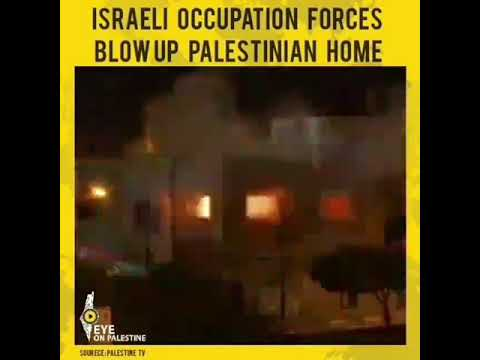 Israeli occupation forces blow up a Palestinian house