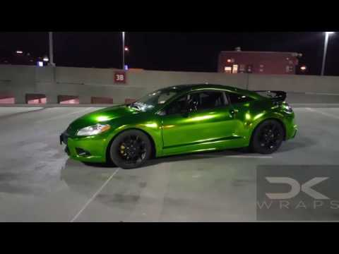 2016 Mitsubishi Eclipse >> Green chrome vinyl wrapped Mitsubishi Eclipse by @ckwraps - YouTube
